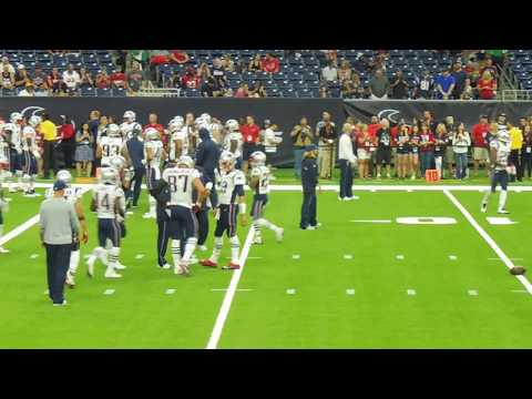 New England Patriots...Offense pre-game warm-up drill from LOS (w/ Brady/Edelman/Gronk)...8/19/17