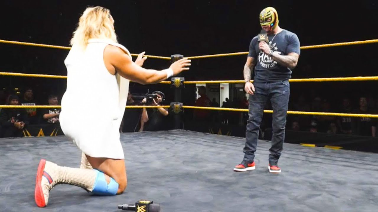 Rey Mysterio surprises Kona Reeves with a 619 at NXT Live
