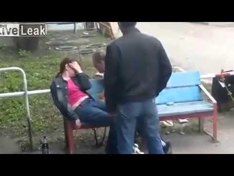 пьяный мужик проучил девчонку - 12