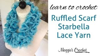 Repeat youtube video Starbella Lace Ruffled Scarf easy lesson with Maggie Weldon