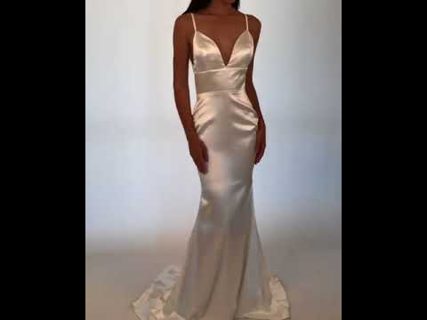 a240fb9ab1 Penelope  Satin Gown in Ivory by Noodz Boutique - YouTube