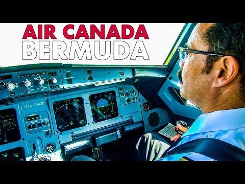 FABULOUS DEPARTURE from Bermuda in Air Canada Airbus Cockpit