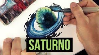 PLANETA SATURNO | Planet Saturn - Speed Drawing #1