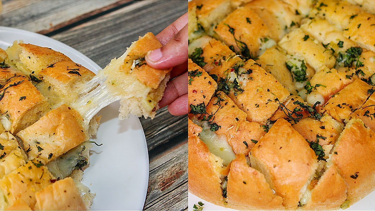 Pull Apart Garlic Bread | Eggless & Without Oven | Yummy ...