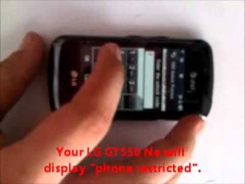 how to unlock at t lg gt550 cell phone youtube. Black Bedroom Furniture Sets. Home Design Ideas