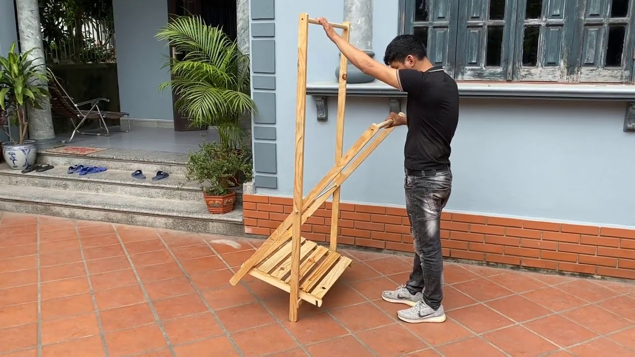 Best DIY Woodworking Projects // How To Build A Convenient Folding Clothes Racks
