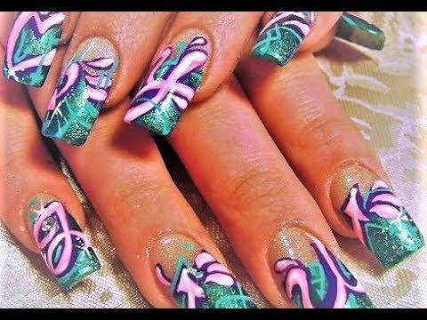 graffiti nails juicy french nail