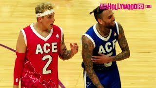 Chris Brown Jokes Around With Jake Paul While Warming Up At The ACE Family Basketball Game 6.29.19