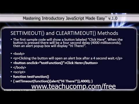 JavaScript Training Tutorial SETTIMEOUT() and CLEARTIMEOUT