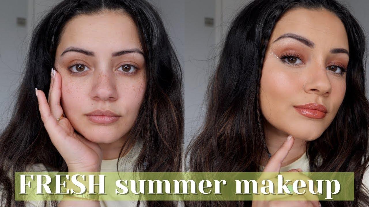 FRESH + SPARKLY SUMMER HAIR & MAKEUP TUTORIAL | Kaushal Beauty