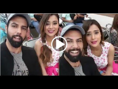 Indian Actress Sarah Khan having fun chat with Noor Hassan at Islamabad Airport !