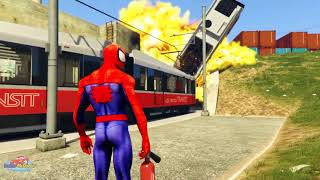 TRAINS for Kids Spiderman VLOG | Train Trouble Cartoon for children with Nursery Rhymes   #part 183