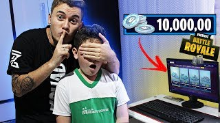 I SURPRISED MY LITTLE BROTHER ADDICTED TO FORTNITE WITH 10,000 V BUCKS!
