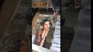 Women Carvings Water Jet Marble Mosaic Tiles production