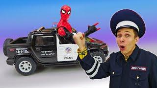 Человек Паук и Инспектор Фёдор ловят Венома! - Видео игры машинки Полиции. Супергерои онлайн.