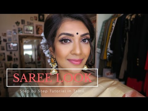 Saree Look Tutorial in Tamil | Vithya Hair and Makeup Artist