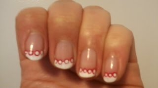 Polka Dot French Tip Lacy Nails In Pink (watermelon). Try It! Part 1