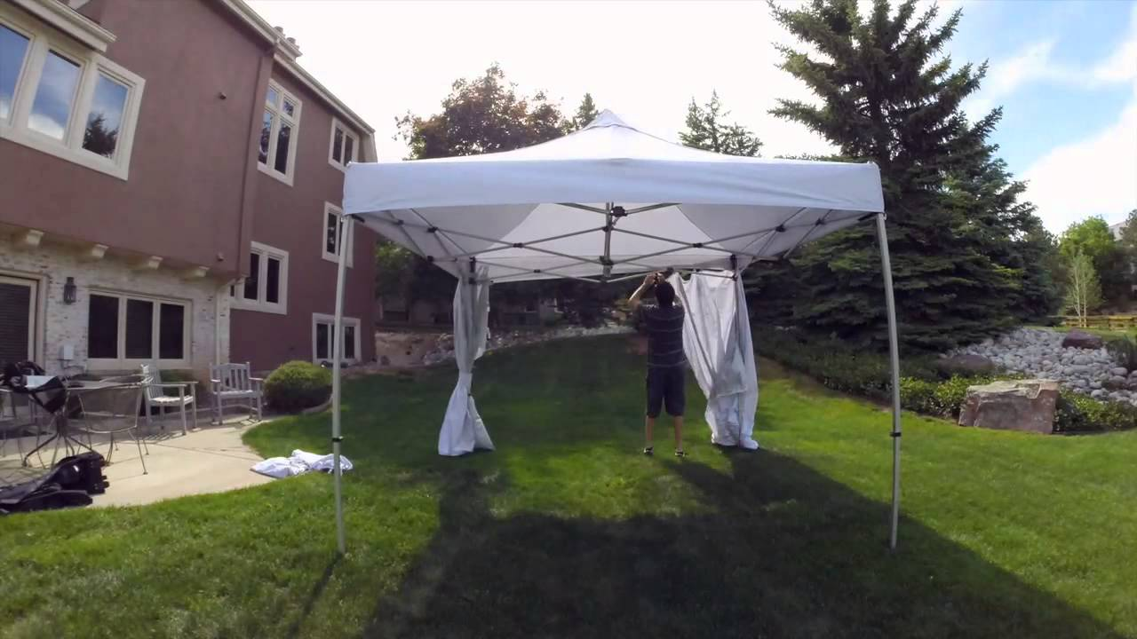 Undercover® 10 x 10 Commercial-Grade Instant Canopy with Zippered CRS™ Polyester-Wall Enclosure & Undercover® 10 x 10 Commercial-Grade Instant Canopy with Zippered ...