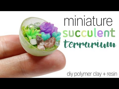 How to DIY Miniature Succulent Terrarium Polymer Clay/Resin Tutorial