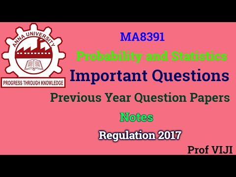 Important Questions for Probability and Statistics | MA8391|Notes| University Question Papers| R2017