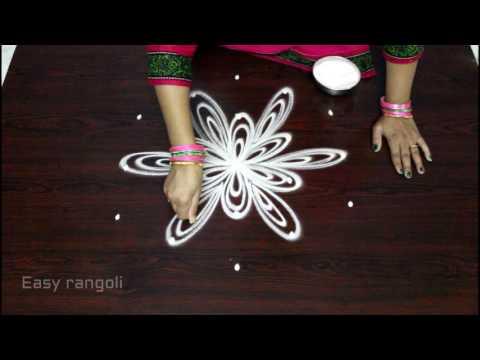 easy rangoli designs with 5x3 dots    simple kolam designs with dots    chukkala muggulu designs