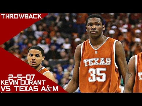 Kevin Durant Full Highlights vs Texas A&M (2-5-07) 28 Pts 15 Rebs 3 Asts 3 Stls, SO GOOD!