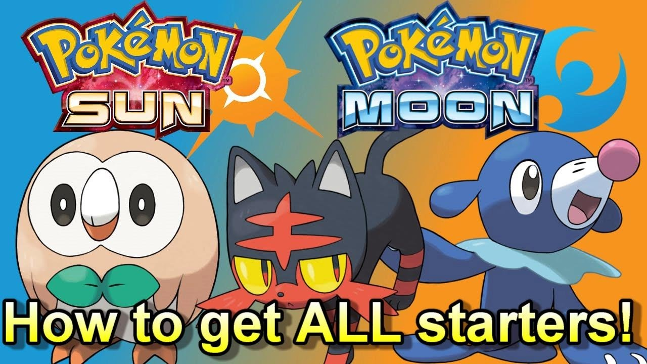 how to get all new starter pokemon in pokemon sun and moon easy
