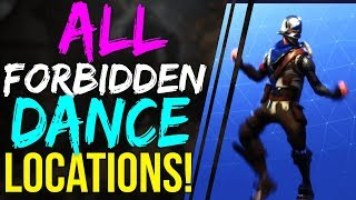 Fortnite Battle Royale ALL FORBIDDEN DANCE LOCATIONS - BATTLE PASS SEASON 3