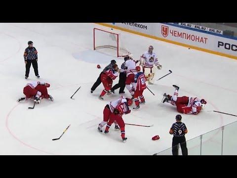 Массовая драка в матче ЦСКА - Йокерит