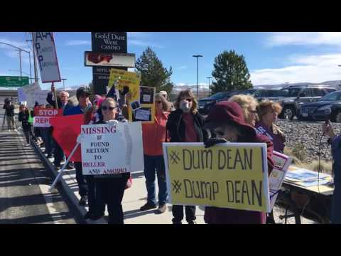 Protesters at Sen. Dean Heller event in Carson City