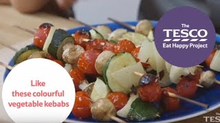 Colourful veggie kebabs are great fun for the whole family to make - Eat Happy Project