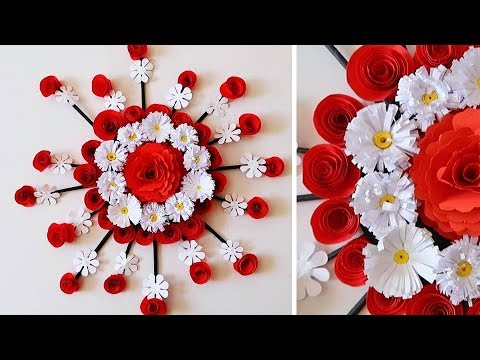 PAPER ROSE WALL HANGING   PAPER FLOWER WALL HANGING   PAPER ROSE WALL CRAFT 509