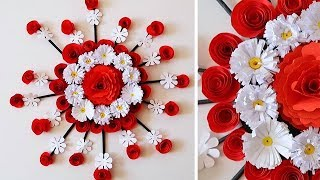 PAPER ROSE WALL HANGING | PAPER FLOWER WALL HANGING | PAPER ROSE WALL CRAFT 509
