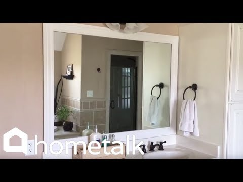 How to Make Your Boring Builder Grade Bathroom Mirror Look High-end | Hometalk