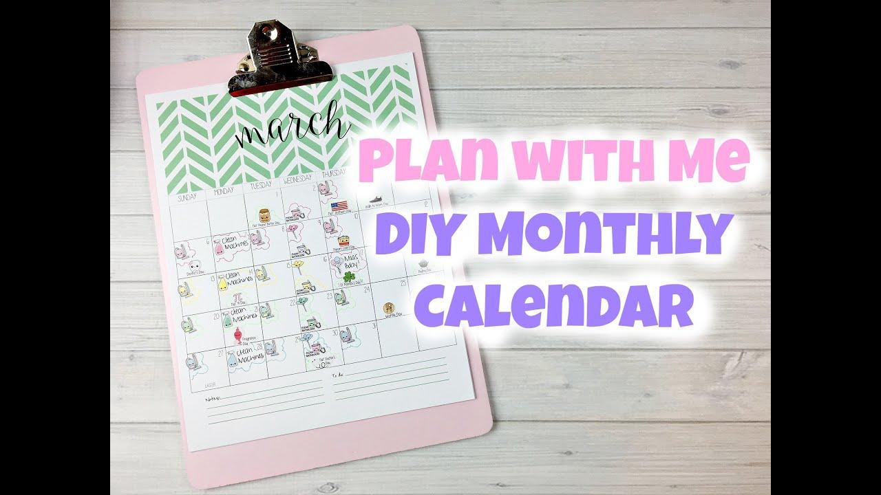 Calendar Design Diy : Sweet kawaii design plan with me diy monthly calendar youtube