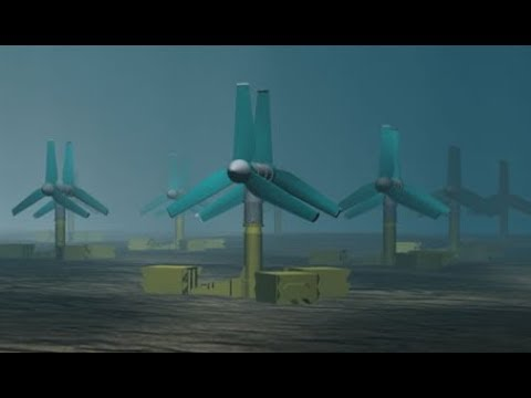 Tidal power plant working.