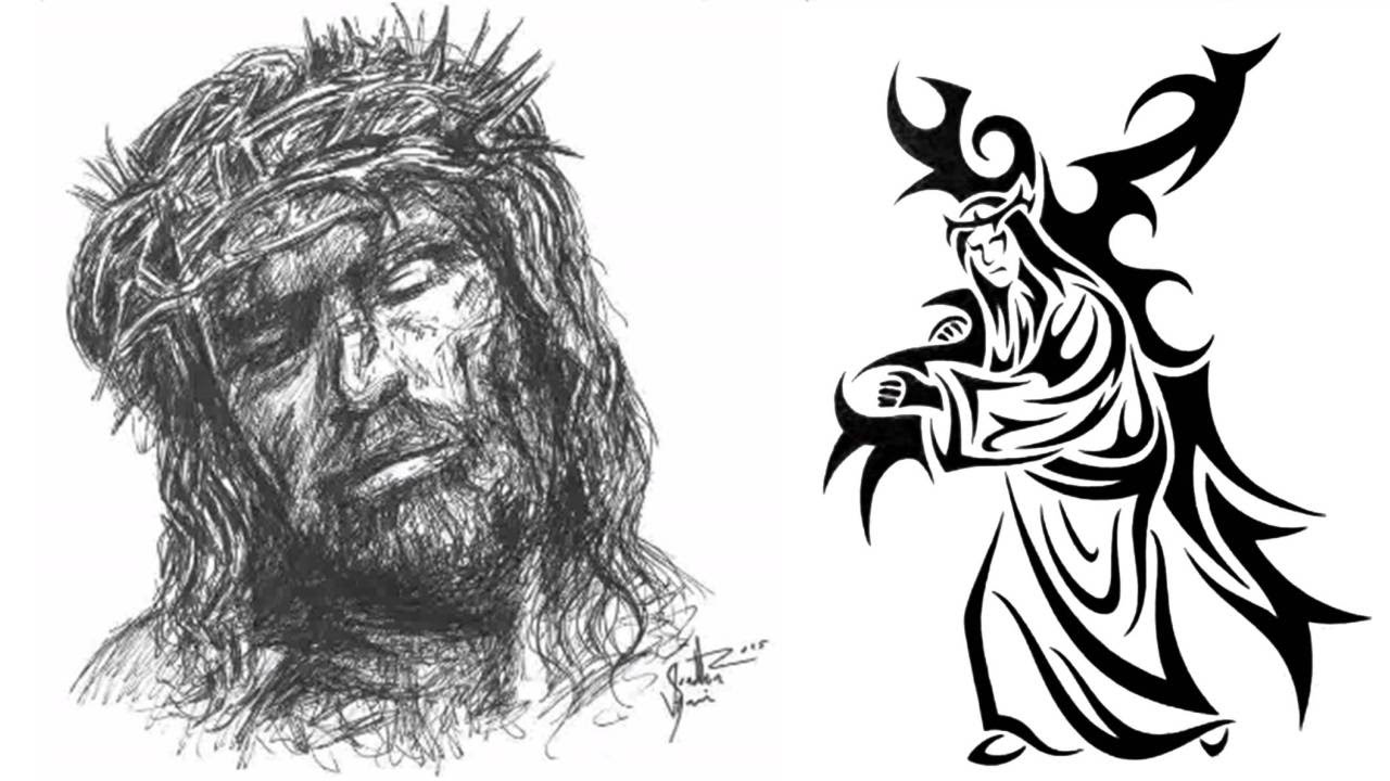 Pen sketch and tribal design drawing of jesus crucifixion good friday special