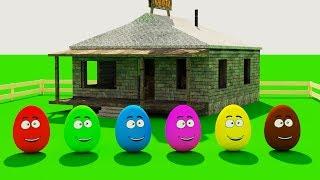 Учим цвета. Разноцветные яйца в деревне. Развивающий мультик для детей.