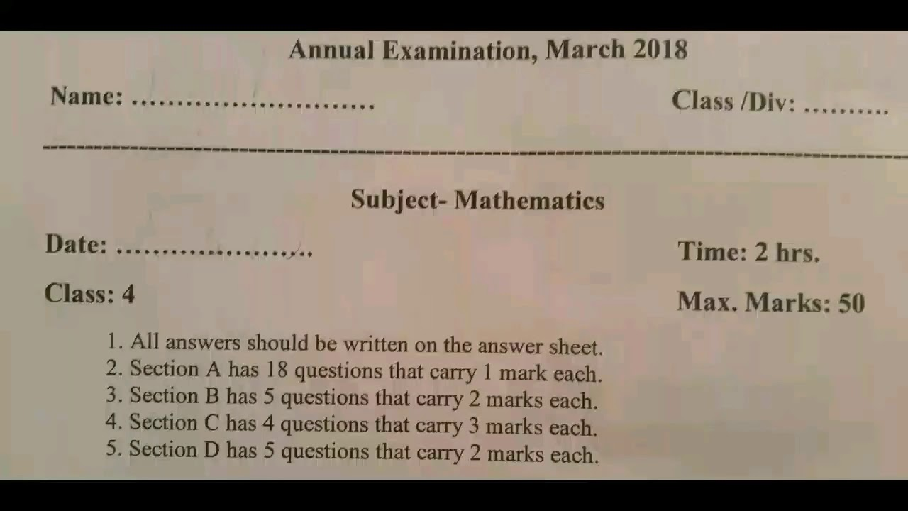Annual examination Maths Question paper 2017-2018 /Grade4/CBSE