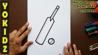 How to draw a CRICKET BAT and BALL