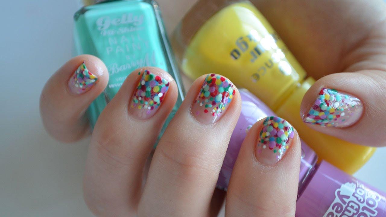 rainbow polka dot nail art tutorial