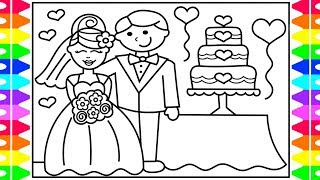How to Draw a BRIDE and GROOM Step by Step for Kids 💍 Bride and Groom Wedding Cake Coloring Page