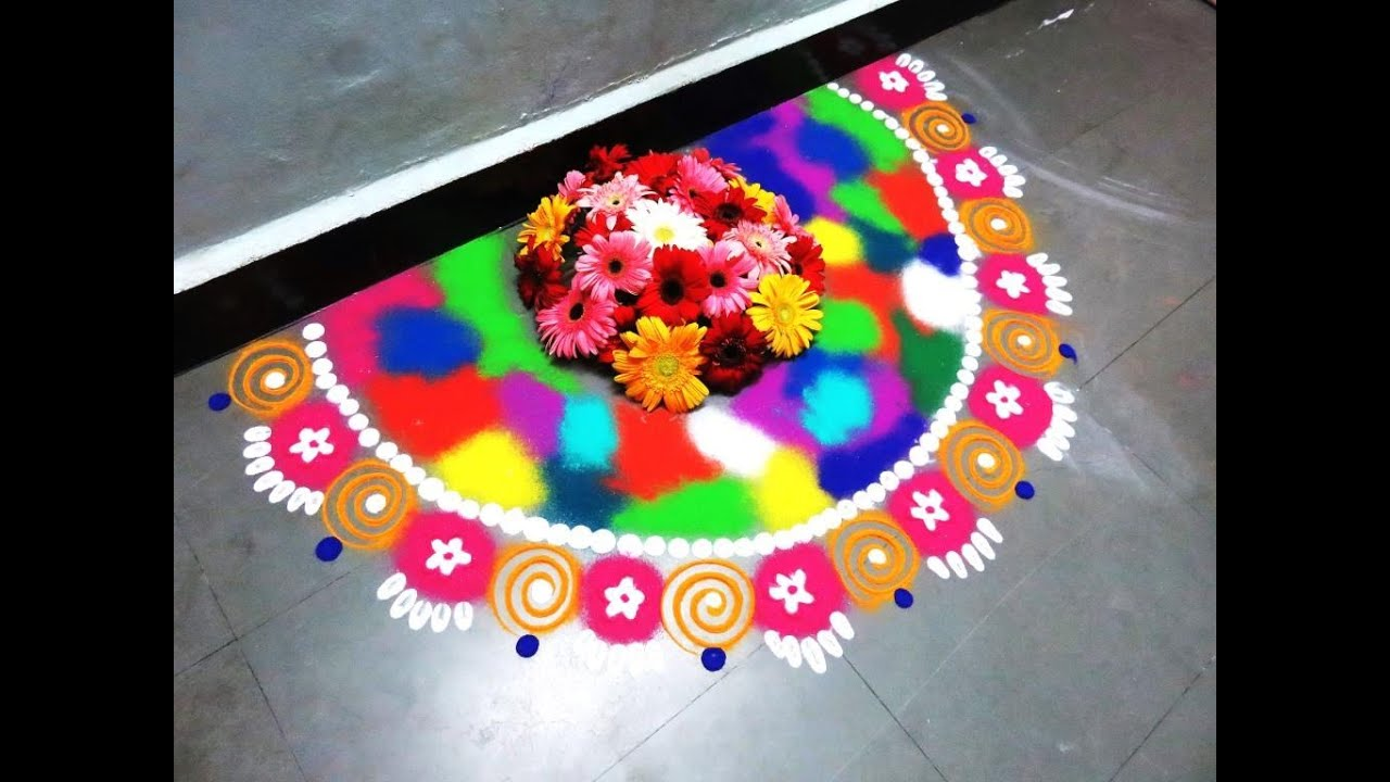 how to make wall side half circle rangoli design created