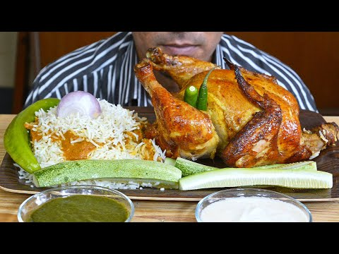 Eating Stuffed Roast Chicken, Rice, Gravy, Green Chutney, Yogurt Sauce - Mukbang Eating asmr Show