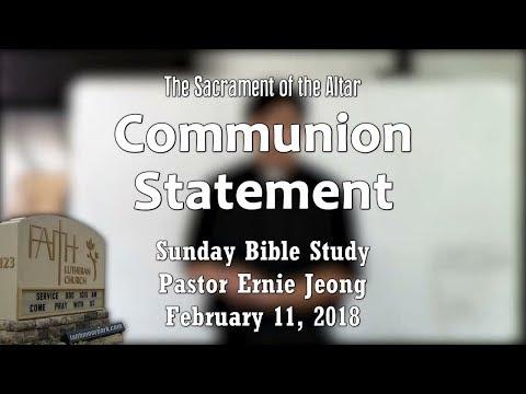 Sacrament of the Altar - Communion Statement (Bible Study)