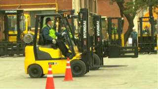 Demonstration of Hyundai Heavy Industries Line of forklift equipment