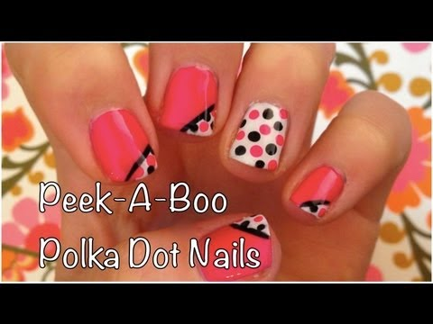 Nail Art Tutorial Peek A Boo Polka Dots In Pink Black And White