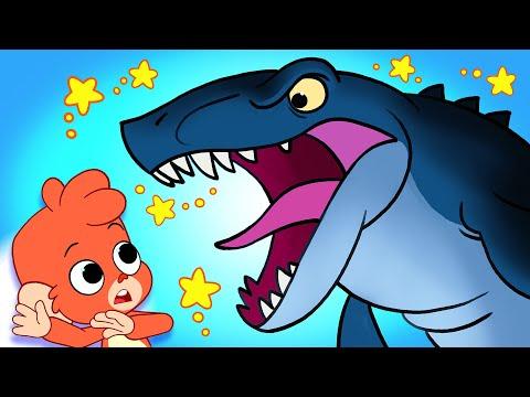 Learn Dinosaurs for Kids   Dinosaur Cartoon videos   T-Rex Mosasaurus   Club Baboo