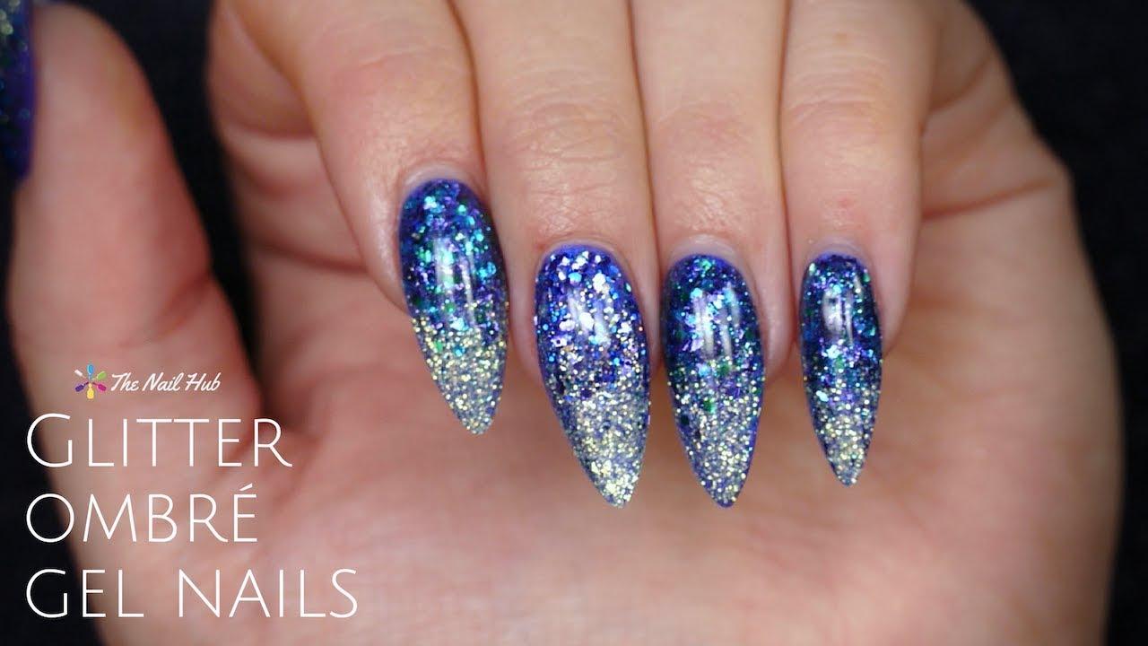 Glitter Ombre Gel Nail Design Youtube