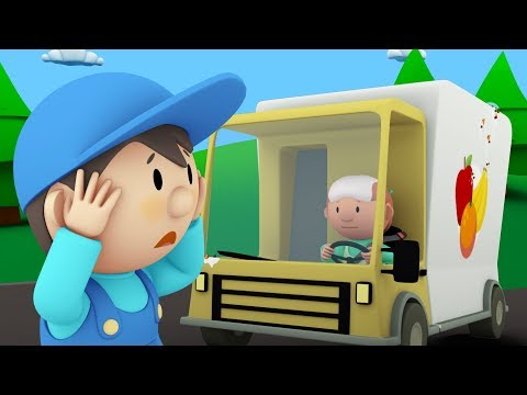 Carls Car Wash  Carl Cleans a Fruit Truck, a Police Car and a Garbage Truck  Cartoon for kids